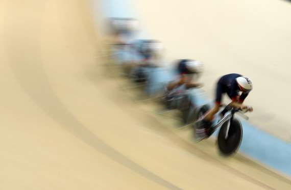 Britain's Kate Archibald, Laura Trott, Elinor Barker and Joanna Rowsell compete…