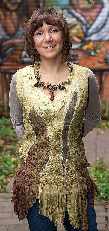 Купить валяная туника Зелёный чай - абстрактный, одежда для женщин, одежда, туника, блузка