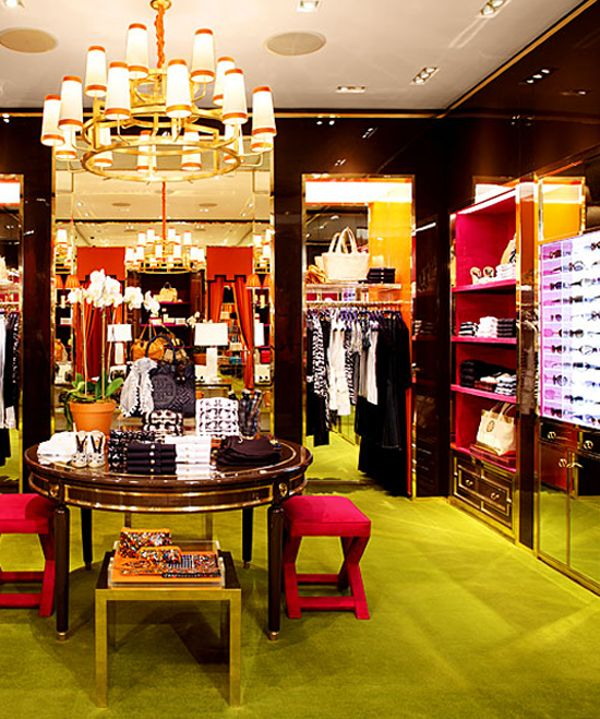 From Home to #Retail - orange lacquer, lime green carpets, lucite tables and