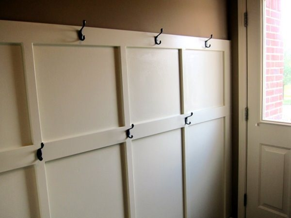 mudroom ideas, good for narrow space