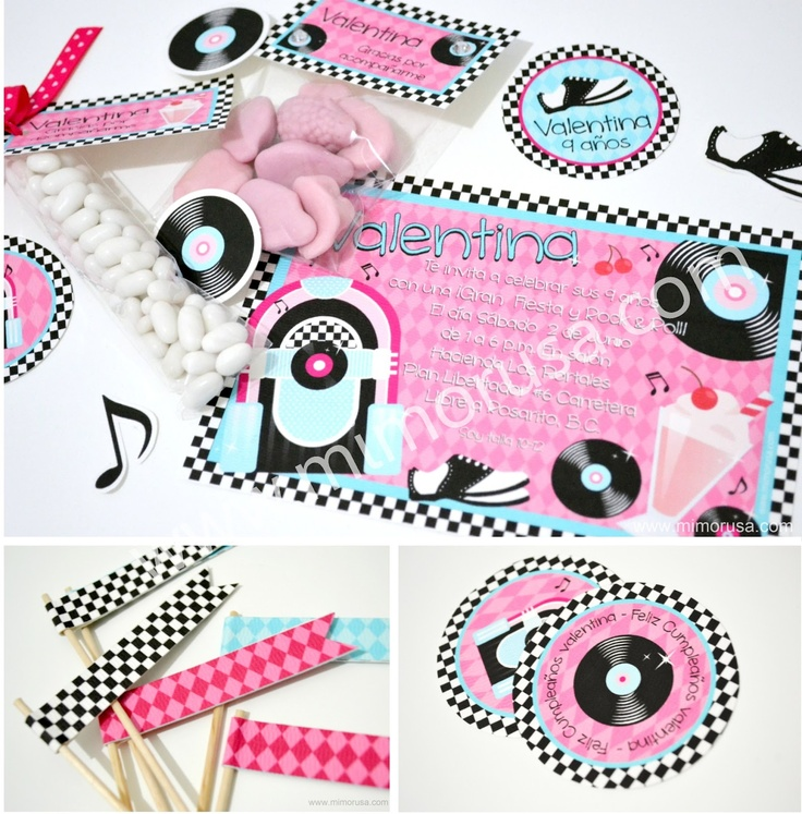 "Kit imprimible de fiesta con tema de ""Rock & Roll"""