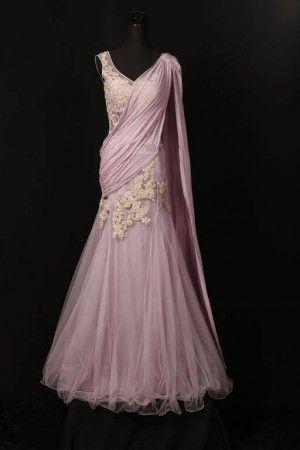 Lavender sari lehenga gown by shyamal & bhumika