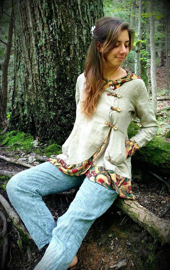 Button up Linen Hoodie Women's Linen Top Organic