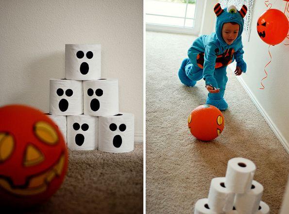 Halloween bowling! Fun, indoor game for the kiddos on #halloween.