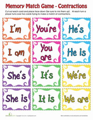 Second Grade Memory Games Grammar Punctuation Worksheets: Contraction Memory Matching Game