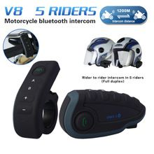 US $97.13 Remote Control V8 1200M Interphone FM NFC Bluetooth Motorcycle Intercom Interphone Intercomunicador Headset For 5 Riders. Aliexpress product