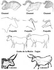 Grade 3 - Prehistoric Cave Painting Project - similar to the lesson I have taught.  Nice line drawing examples of the animals that appear in the cave paintings.