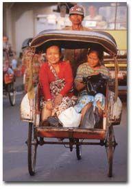 Becak ( pronounced Be-Chark) Yogyakarta,,,,fabulous way to get through the traffic effortlessly.