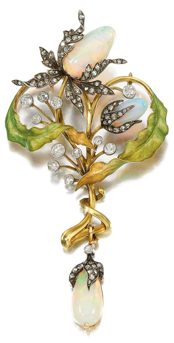An Art Nouveau enamel, opal and diamond pendant, Guillemin Frères, circa 1900. Designed as a cluster of stylised flowers, set with polished opals, circular-cut and rose diamonds, highlighted with translucent matt enamel, detachable pendant fitting, French assay and maker's marks. #GuilleminFreres #ArtNouveau #pendant