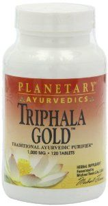 PLANETARY HERBALS Triphala Gold Ayurvedic Herbal Supplement, 1000 Mg, 120 Count by PLANETARY HERBALS. Save 40 Off!. $13.89. Support the body's natural digestive and intestinal cleansing processes. The astringent qualities of the fruits serve to tonify the colon, thereby promoting internal cleansing naturally. Consists of three sour and astringent fruits; Amla, harada, and behada. Triphala is the legendary intestinal cleanser and tonifier of India. Planetary ayurvedics triphala gold i...