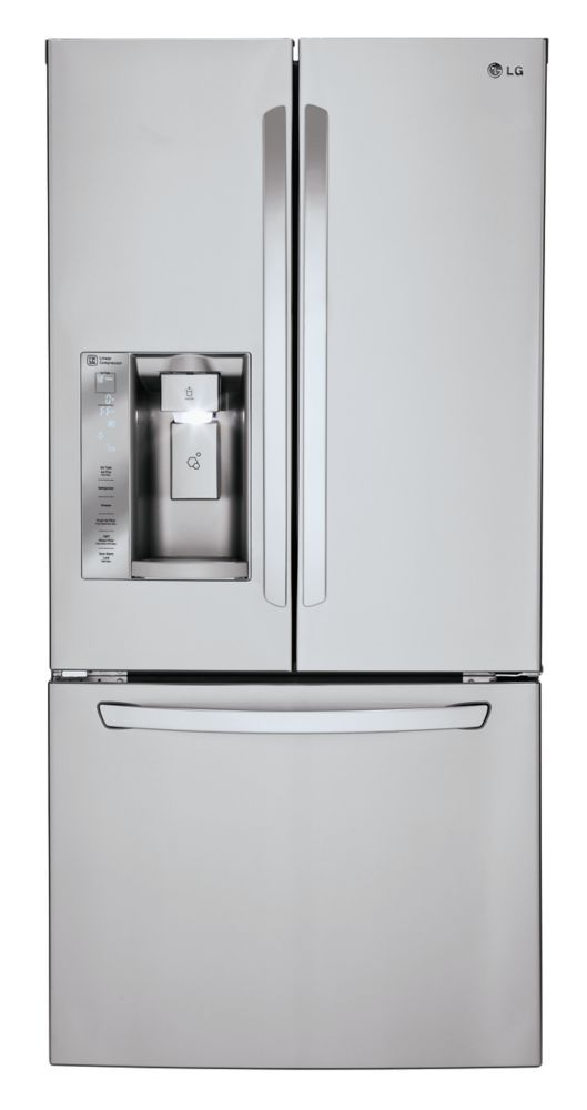 24.2 cu. ft. French Door Refrigerator with Ice and Water Dispenser in Stainless Steel