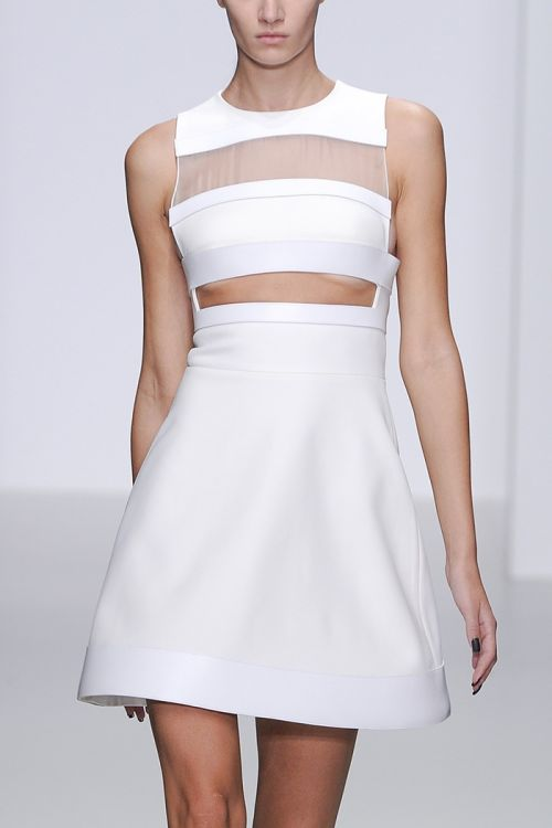 Like the top, I'd bring it all the way down to the waist and bring skirt closer to the body. — David Koma Details