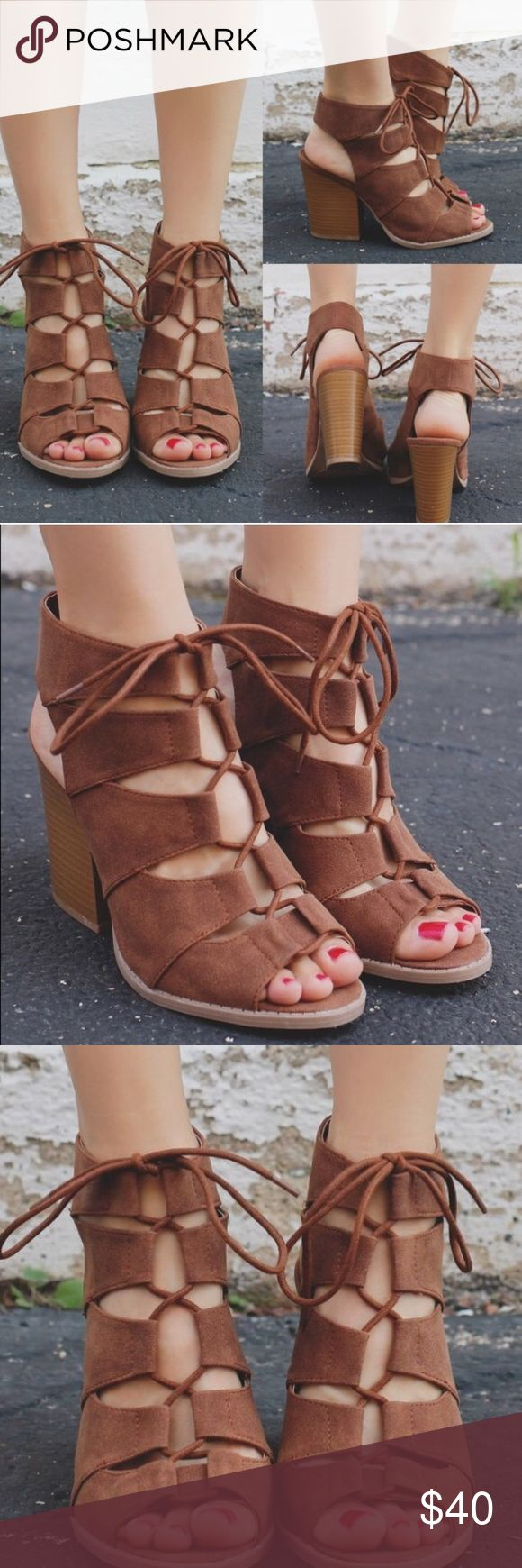 Lace up gladiator shoes NWT 4 inch heel▪️NWT▪️lace up/gladiator style▪️chunky heel▪️cognac▪️selling bc school doesn't allow Splendid Shoes Ankle Boots & Booties