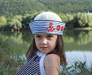 Вязаная крючком авторская панамка в морском стиле для пятилетней девочки. Бесплатная схема и описание вязания стильной летней панамки.