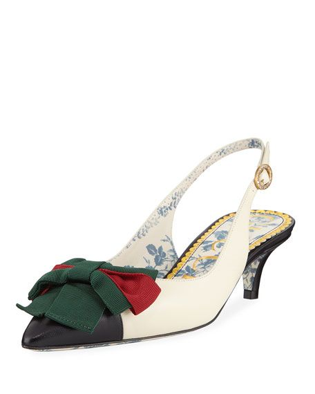 be629c4aa GUCCI | Jane Slingback Pumps with Web Bow | CAD 1,353.91 | Gucci leather  pump with green/red/green Web grosgrain bow and crystal buckle.