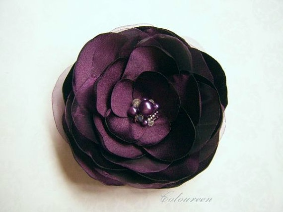 Eggplant Hair Clip Aubergine Bridal Brooch or Hair by coloureen, $19.00