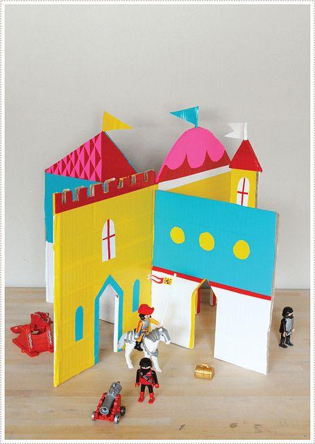 MerMagInterlockingCastle7 by mer mag, via Flickr: Duct Tape, Cardboard Castles, Castles Diy, Cardboard Boxes, Interlocking Cardboard, More Mag, Plays Castles, Cardboard, Castle