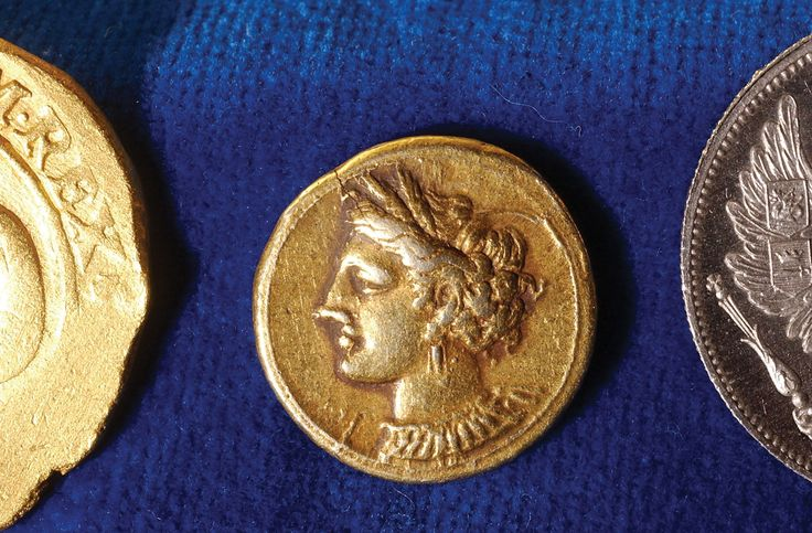Rare gold coin from Carthage depicting the goddess Persephone, 441–317 BCE