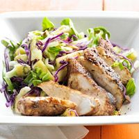 """Jerk Chicken and Slaw - Super easy to make and the slaw is awesome! Yes, this comes from someone who usually runs away at the word """"slaw"""""""