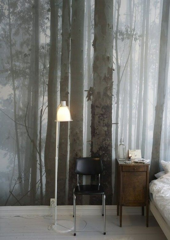 Photographic wallpaper trees
