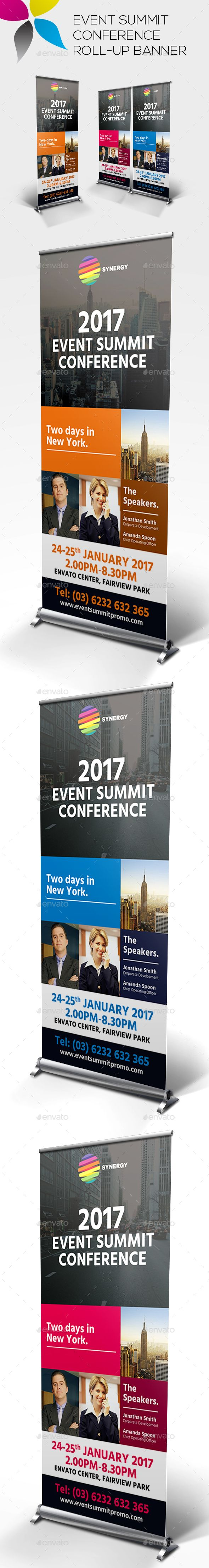 Event Summit Conference Roll-up Banner Template PSD