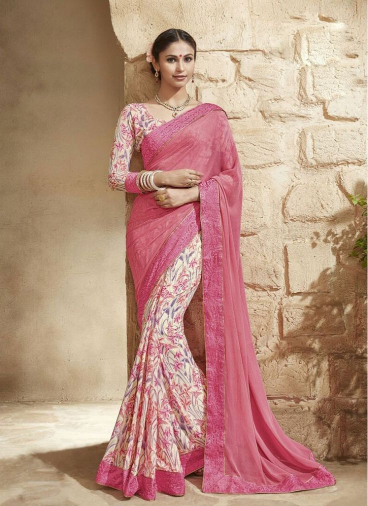 Exciting Floral Print Faux Georgette Pink Fancy Printed saree