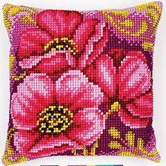 """Vervaco ANEMONE BOUQUET Chunky Cross Stitch Cushion Front Kit 16"""" X 16"""""""