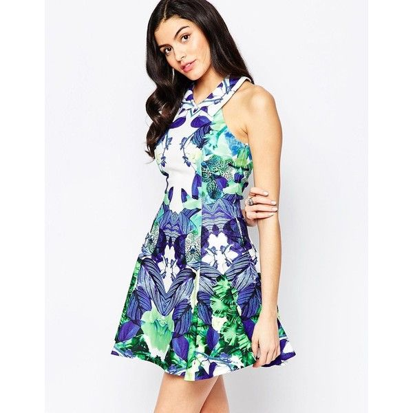 Forever Unique Laura Skater Dress in Mirror Print ($161) ❤ liked on Polyvore featuring dresses, mirror print, white high neck dress, mirrored dress, tall skater dress, high neck skater dress and pattern dress