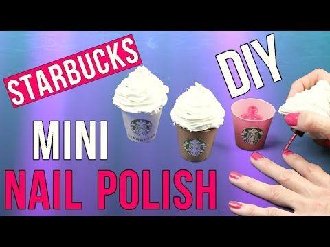 DIY Crafts: DIY Starbucks Mini Nail Polish-Miniature Cotton Candy Frap Nail Polish-Tiny DIY Tutorial - YouTube