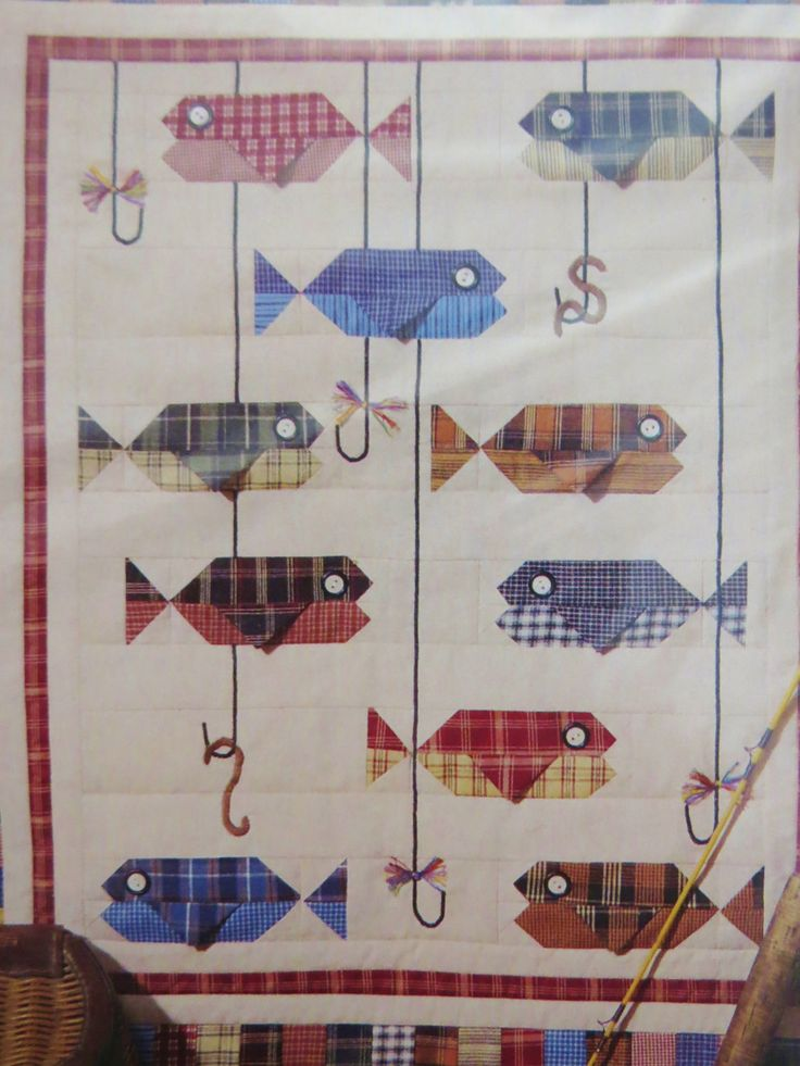 Patchwork Fish Quilt Pattern, Something's Fishy, Four Corners 9340, Wallhanging Pattern, Fisherman Wall Quilt by CatBazaar on Etsy