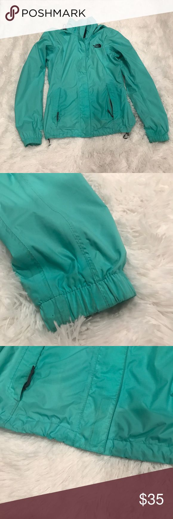 North Face Women's rain jacket North face resolve teal rain jacket lightly worn but still in great condition North Face Jackets & Coats