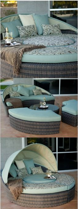 Outdoor convertible couch. Get real, I love this for by the pool.
