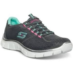 Ladies Skechers Empire Athletic Sneakers 7 M Charcoal/Green