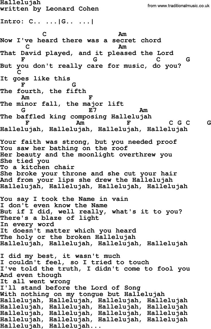 hallelujah chords leonard cohen - Google Search