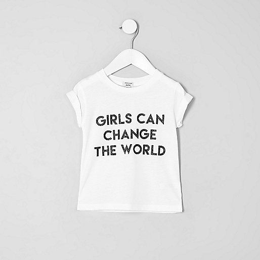Jersey fabric 'Girls can change the world' print Crew neck Short rolled sleeve
