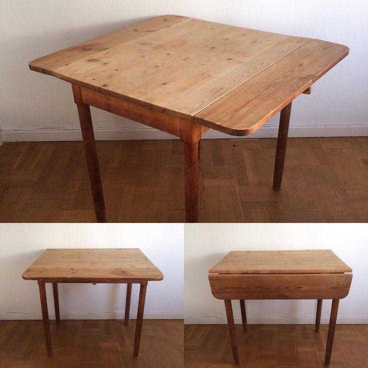 Klaffbord.... Maxlängd 90cm (klaff 15cm) Bredd 80cm Höjd 73cm 1500kr #klaffbord #köksbord #skrivbord #vintagebord