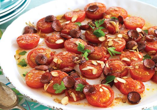 Warm Roast Tomatoes with Crispy Chorizo & Almonds, perfect for a tasty side dish!