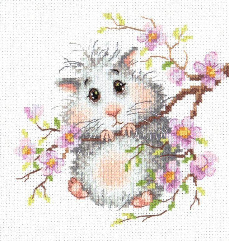 вышивка крестиком на канве Аида, маленький хомячек