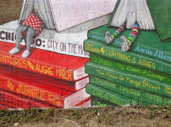 Pilsen Books. This book-themed mural is a part of an ongoing street art project by Chicago-based creative collective, Pawn Works.