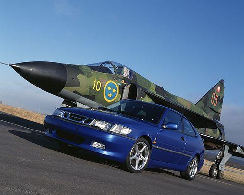 1999 Lightning Blue Saab 9-3 Viggen & the SAAB 37 Viggen Fighter Jet (Viggen = Thunderbolt)