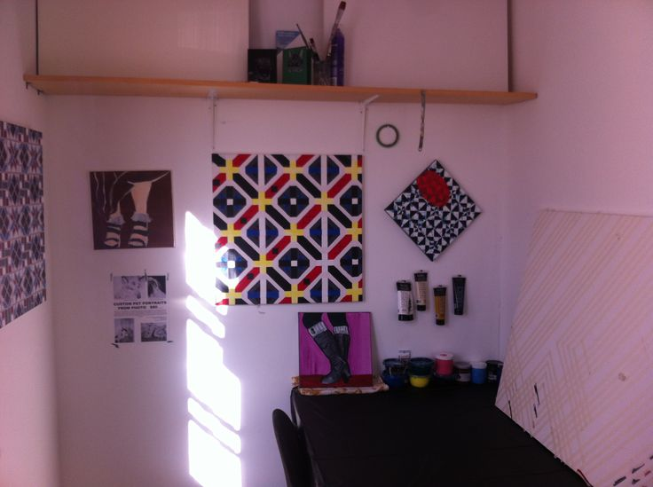 Part of my studio in Medicine Hat, AB at the Hive Artists' Hub