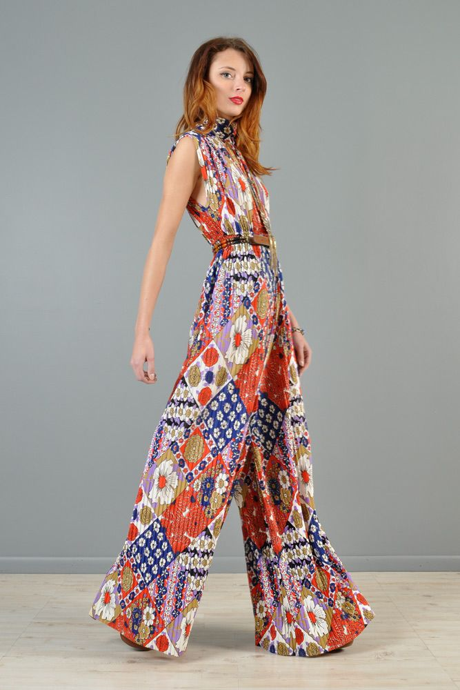 1960s Pleated Palazzo Leg Floral Jumpsuit   BUSTOWN MODERN