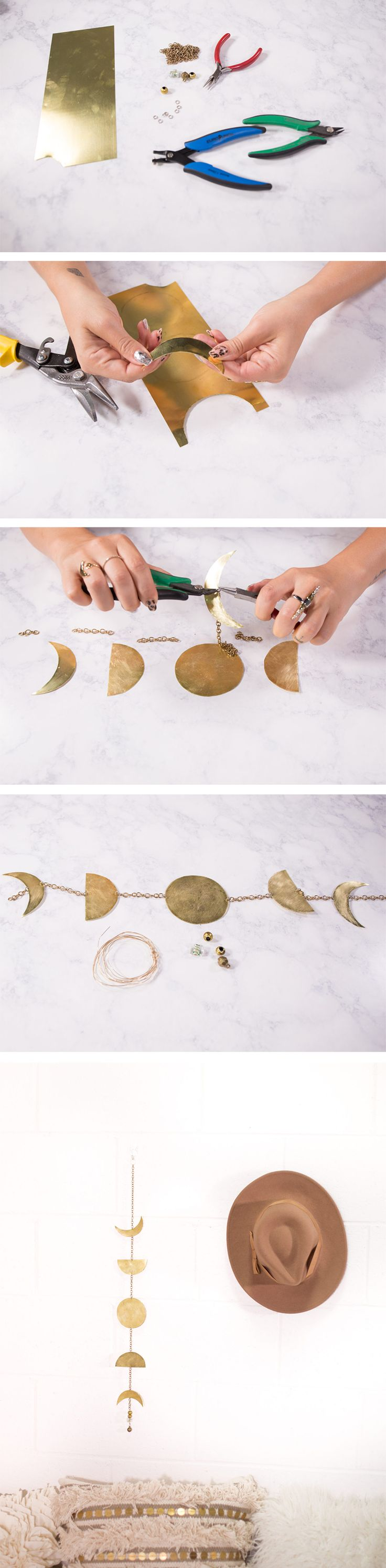 Sheet metal from the craft store & some basic jewelry making supplies are all you need to string together this lovely #DIY lunar home decor!                                                                                                                                                                                 More