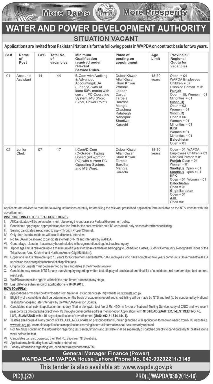 45 best government jobs images on pinterest government jobs wapda lahore nts jobs 2015 july advertisement application form falaconquin