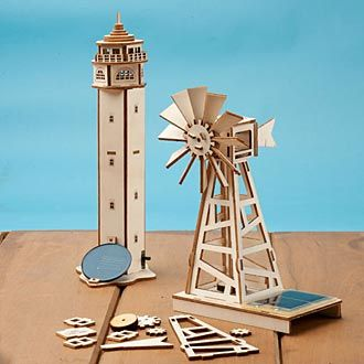 """8-1/2"""" Solar Windmill and 11"""" Nightlight Lighthouse are fun and easy to build, all the while providing real lessons in both engineering and solar energy."""