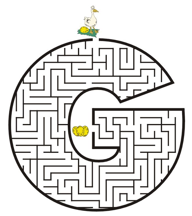 Free Printable Maze of the letter G: All letters capital