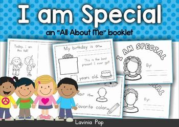 """All About Me I Am Special - An """"All About Me"""" booklet Preschool and Kindergarten (Prep) Here's a fun idea for back to school or end of school year classroom idea. (This unit contains US and Australian spelling). I'd like to begin by stating that this is not my original idea."""