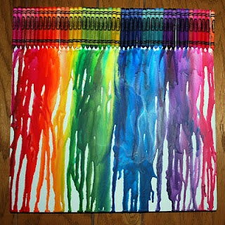 rainbow wall from crayons...the kids really want to do this. maybe we could frame it and hang it in the toy room?