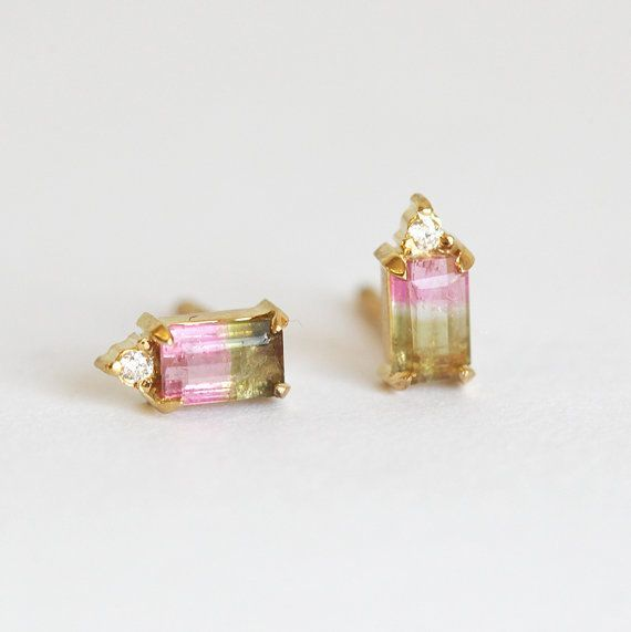 Watermelon Tourmaline studs, 14k Gold, $AUD 883.63. I've always loved colours and unusual semi-precious stones such as tourmaline and labradorite.