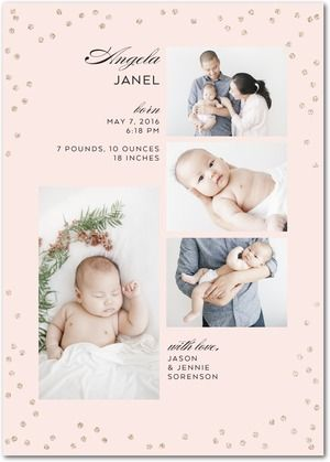 Confetti Arrangement With Love Baby - Glitter Girl Birth Announcements - Picturebook - Chenille - Pink : Front